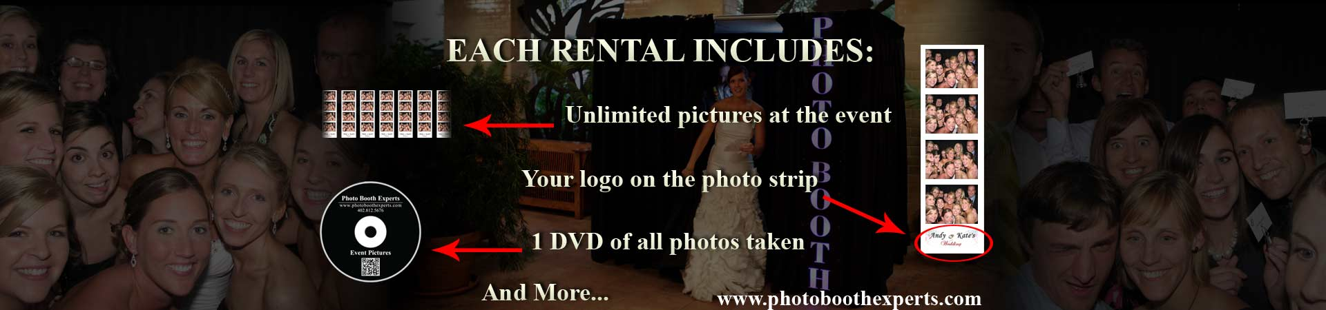 Included in every rental: Unlimited photos at the event, 1 DVD of all the photos taken, logo on the photo strip and more