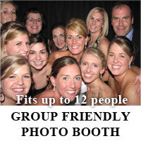 Our Photo Booths are designed to accommodate large groups of up to 12 people